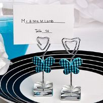 Blue Gingham Butterfly Design Place Card Holders